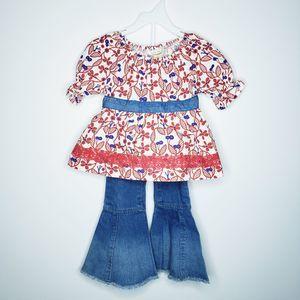 Matilda jane red floral blouse bell bottom jeans